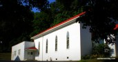 The clean white walls reflect the worshipers' desire for purity of heart in central Pennsylvania.