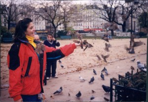 Eating out of my hand in Paris Nov 1997