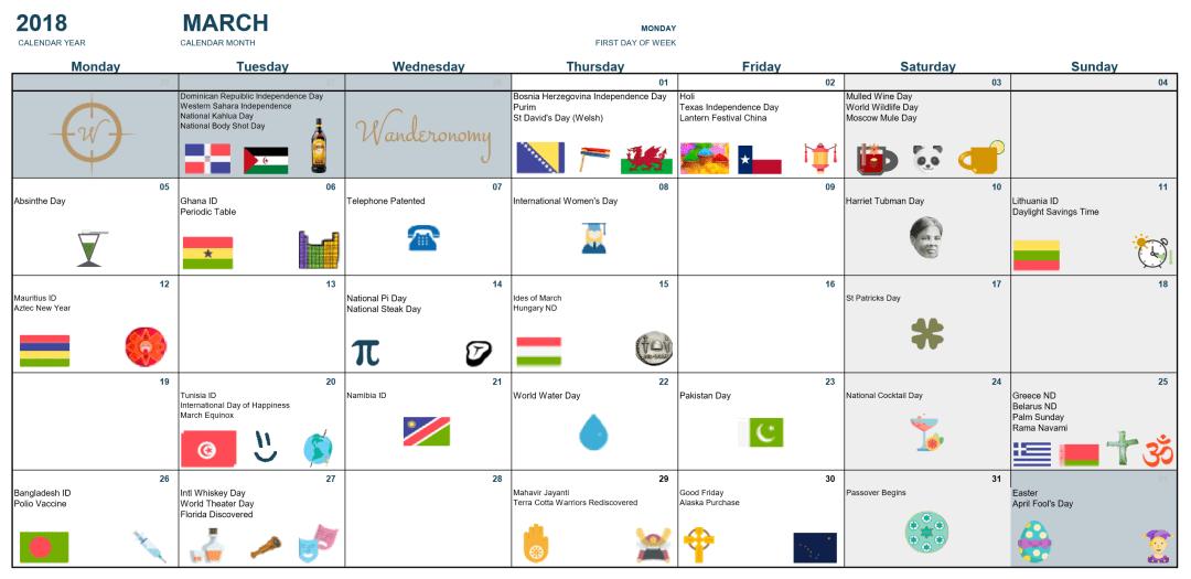Wanderonomy March Event Calendar