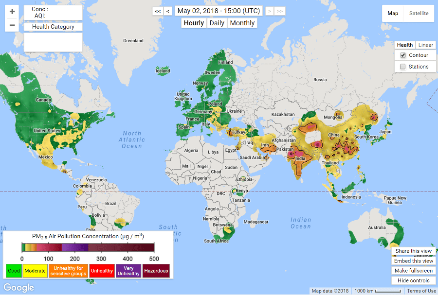Real-time Air Pollution Map