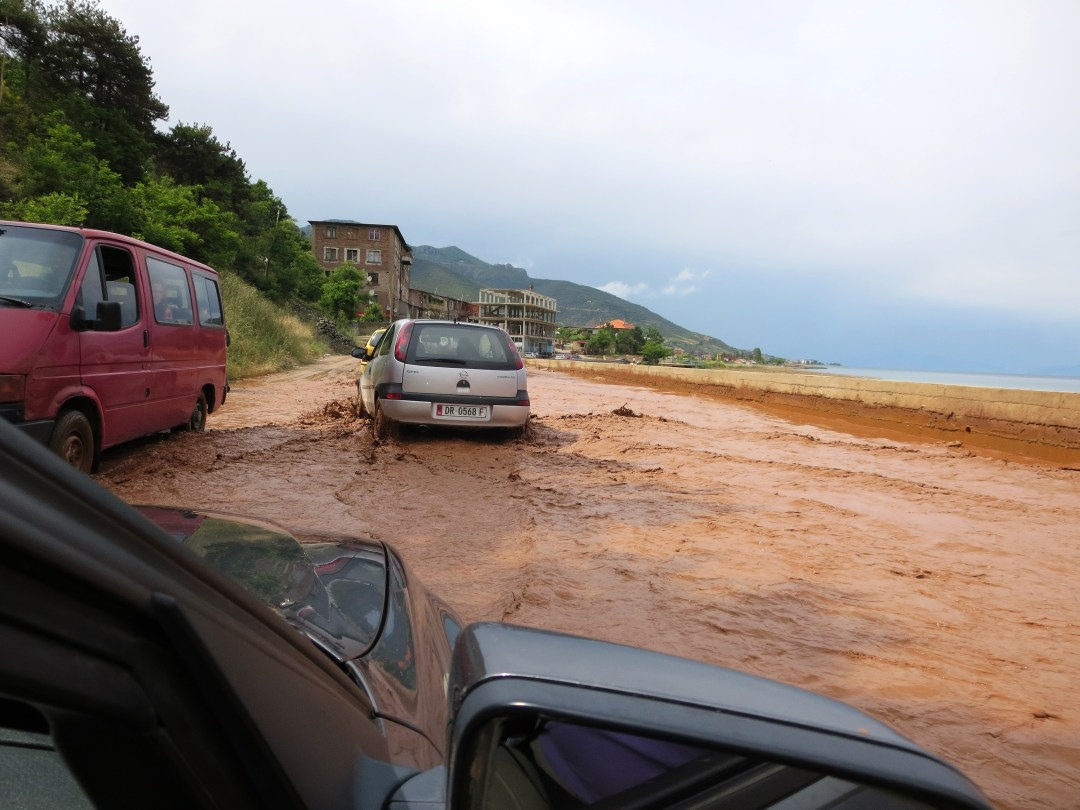 Driving on a flooded road Lake Ohrid, Macedonia June 2014