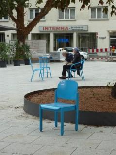 Die Stühle wurden auf dem Hospitalplatzverteilt...
