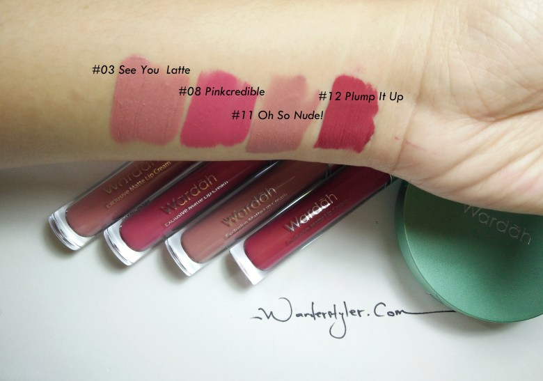 Wardah Exclusive Lip Cream swatches. The lip cream swatches - I love shade #03 See you Latte the most!!