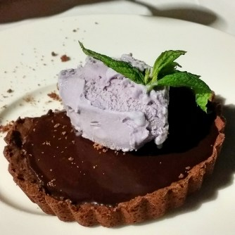 Chocolate tart with Madagascar vanilla and lavender ice cream, 10 euro (this was amazing and we ordered it another night)