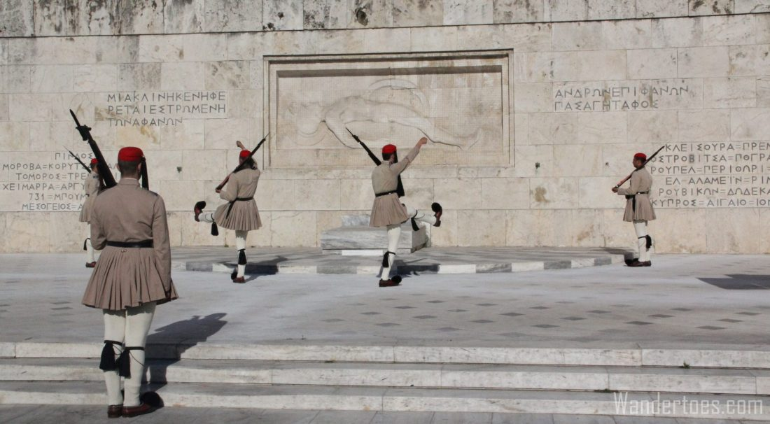 Changing of the guard at the Tomb of the Unknown.  Map of Plaka Athens Things to Do