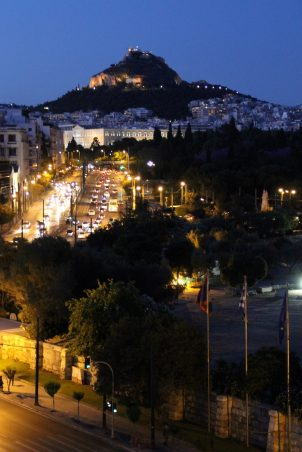 View of Lycabettus Hill, to the north (left) as seen from front hotel rooms