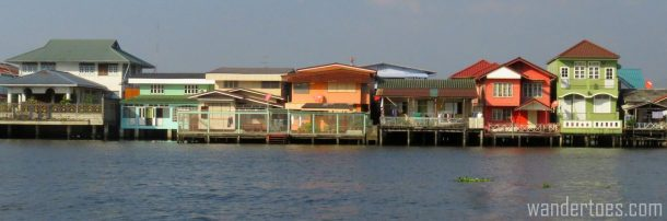 Modern homes along Chao Phraya as seen from the water taxi.