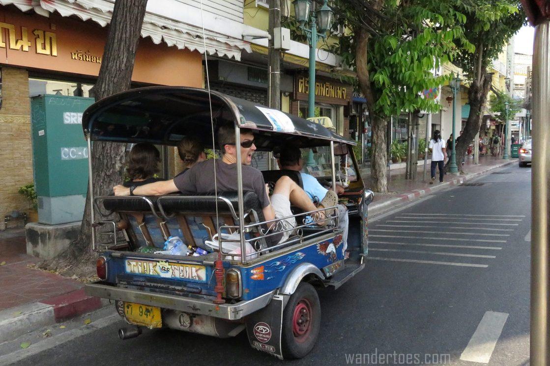 Tuk Tuk ride Khaosan road bangkok thailand travel