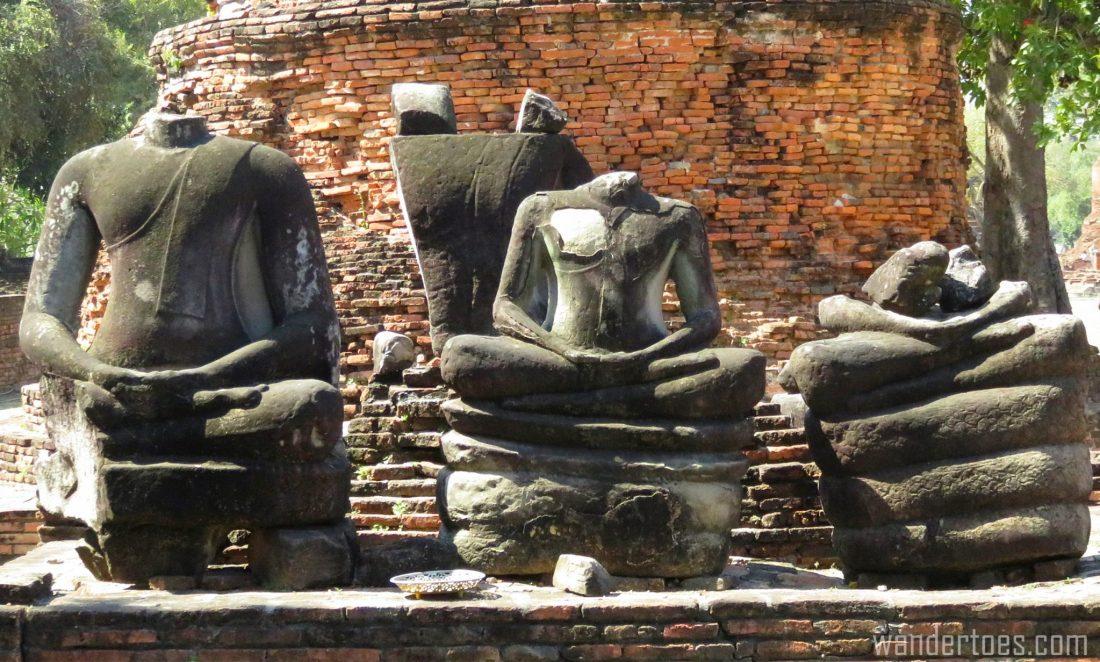 Ayutthaya Thailand Bangkok day trip travel with kids Damaged buddhas