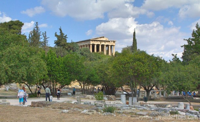 Temple of Hephaestus in Athens Agora.  Map of Plaka Athens Things to Do
