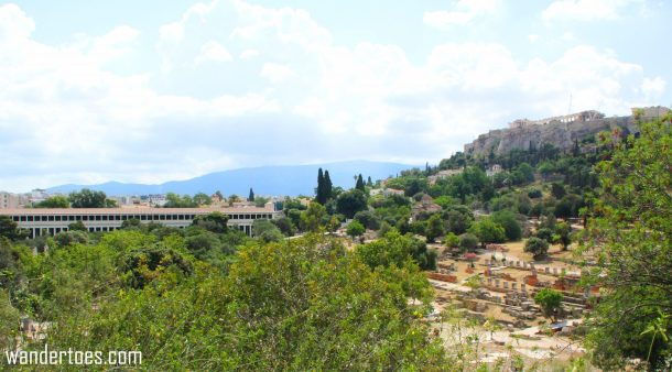 View of Agora from Temple of Hephaestus. On the left is the Stoa, and, of course, the Acropolis in the upper right.