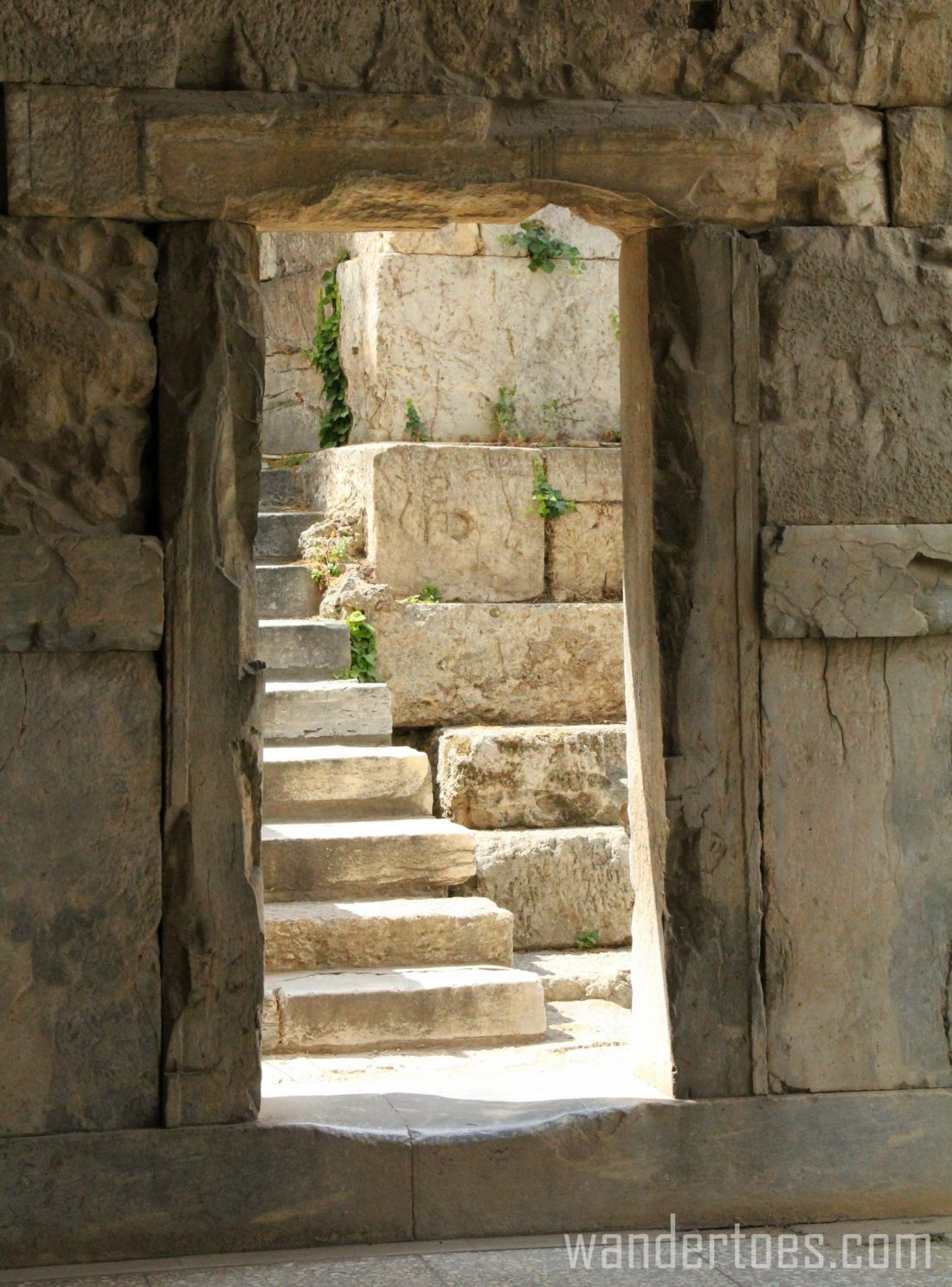 Doorway at end of ancient Stoa of Attalos in Agora of Athens
