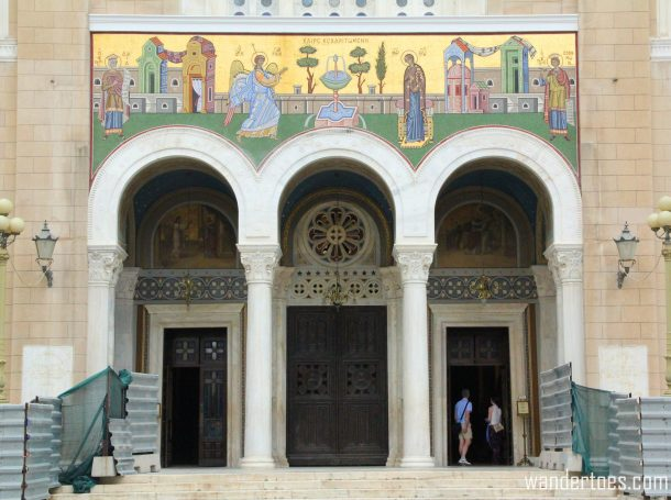 Entrance to Metropolitan Cathedral of Athens. Map of Plaka Athens Things to Do