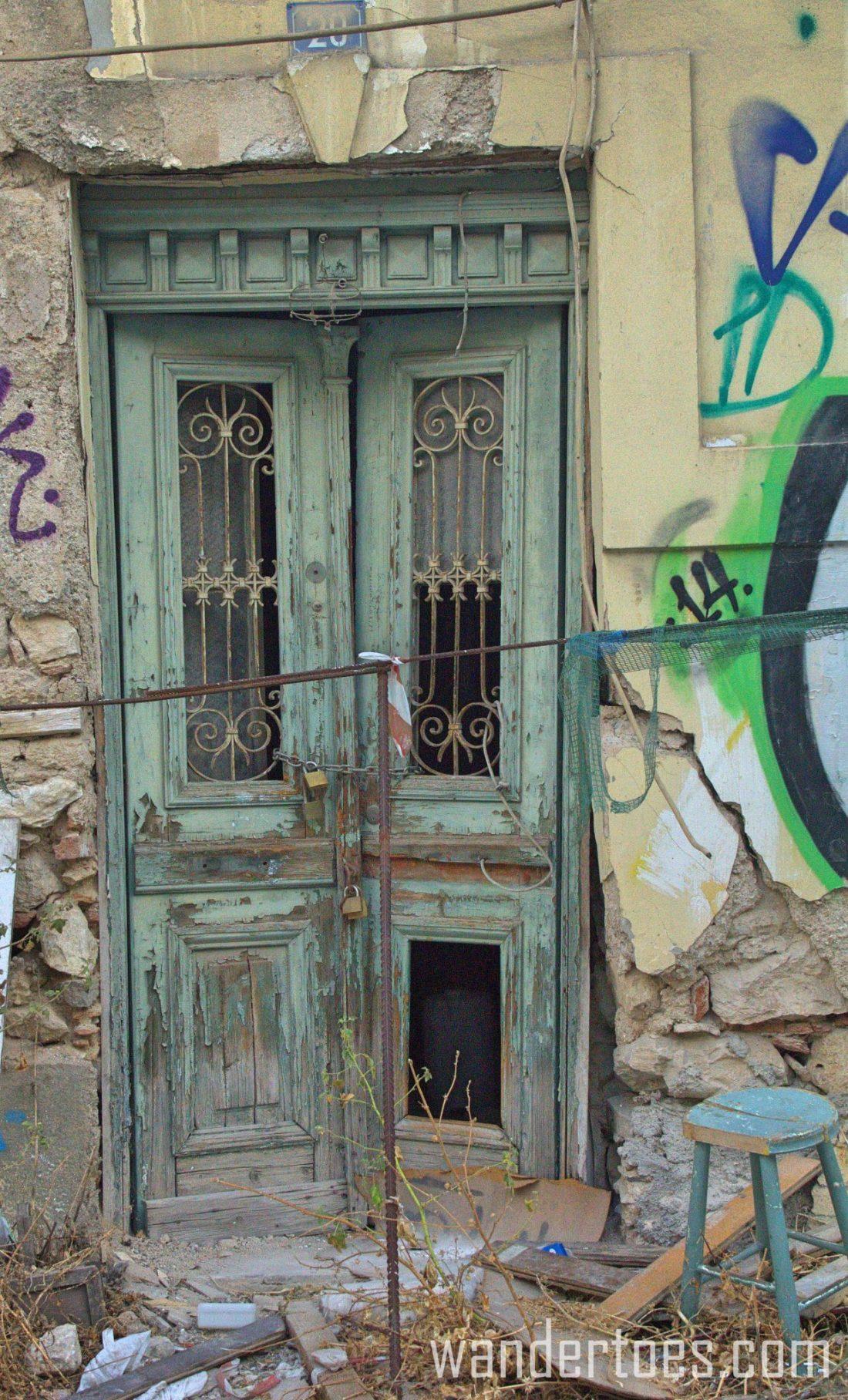 Green Abandoned Door