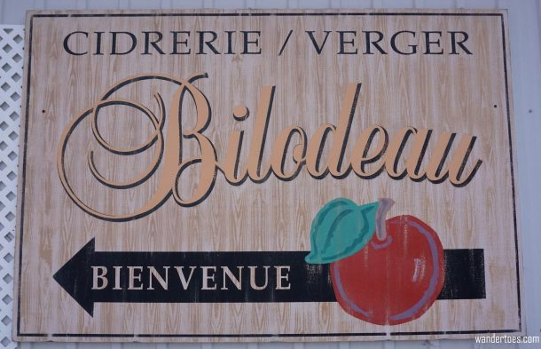 Cidrerie Bilodeau welcome sign Quebec Food Tour Ile d'Orleans food tasting Quebec City Day Trip foodie travel