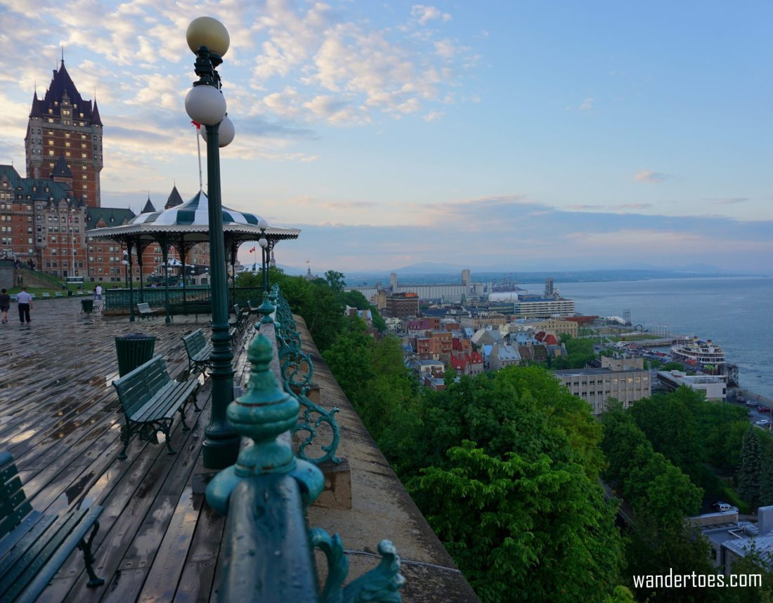 Chateau Frontenac Terrrasse Dufferin St. Lawrence River Old Town Quebec City Canada solo female travel solo mom travel