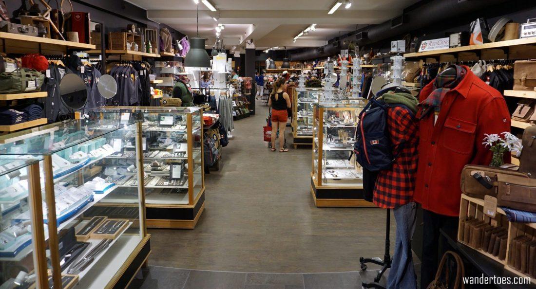 Artisans Canada shop interior. Quebec City shopping artisan souvenirs.