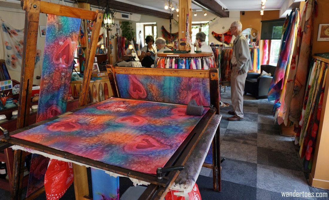 Soierie Huo shop interior. Quebec City shopping artisan souvenirs.