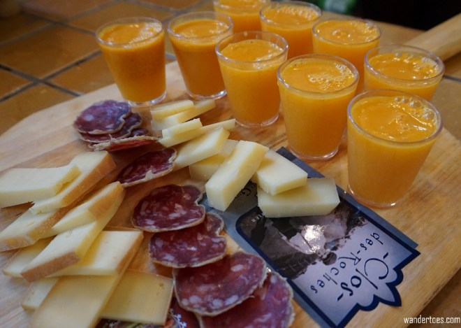 Assortment of cheese, meat and Sea Bucthorn juice in Fromagerie Des Grondines. Foodie Travel, St. Roch, Quebec City.