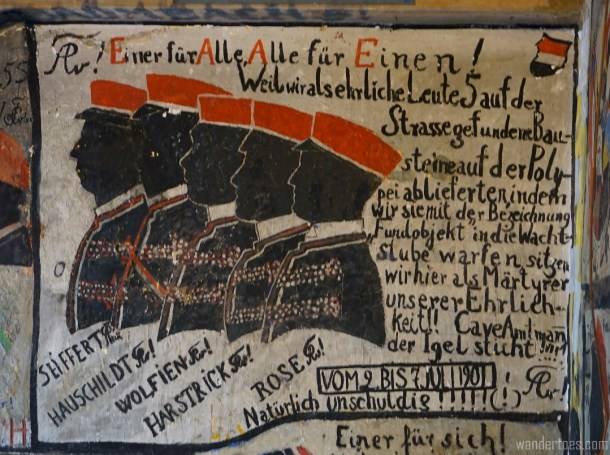 Detailed grafitti within the prison. Can anyone translate?? Heidelberg Studentenkarzer Student Prison.