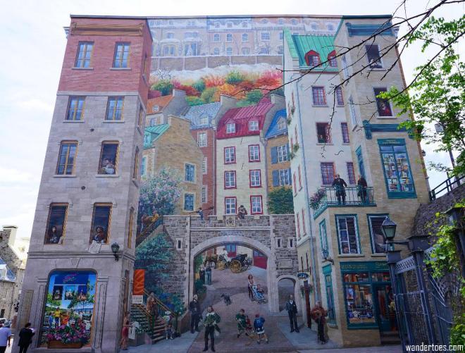 La Fresque des Québécois, the largest and arguably most famous of the Quebec City Murals