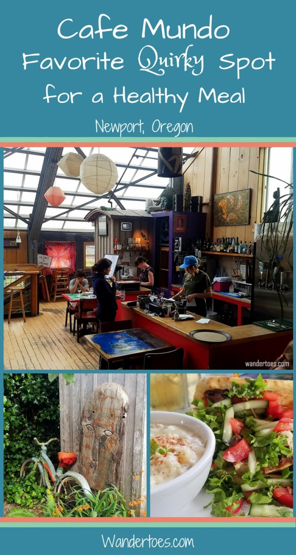 Newport, Oregon's Cafe Mundo for delicious food in a quirky, entertaining location.