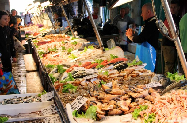 Rialto Food Market in Venice Italy