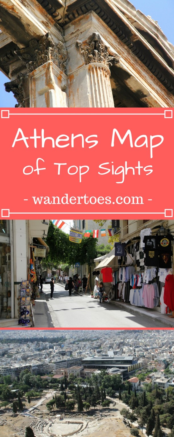 Athens, Greece: Map of Top Sights including Ancient Ruins, Shopping, Eating, and more!