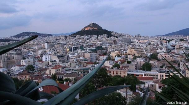 Anafiotika view of Mount Lycabettus Athens
