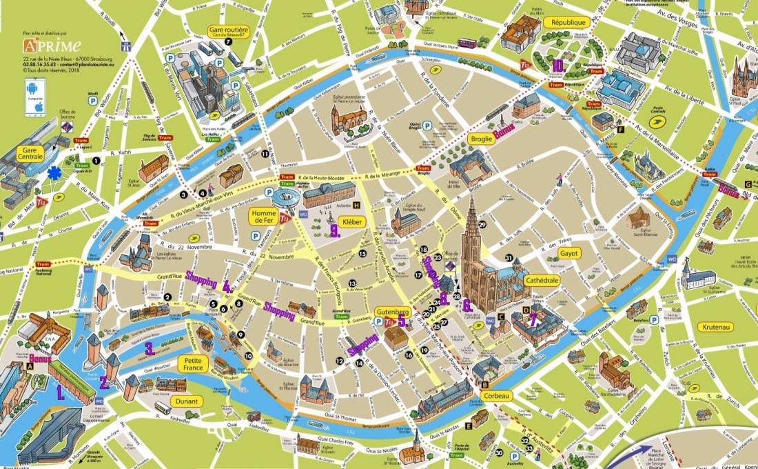 Map of Things to do in Strasbourg France | Strasbourg France Things To Do