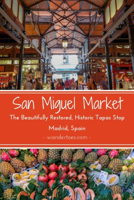 Madrid, Spain:  The beautifully restored,  historic Madrid food market is just steps from Plaza Mayor.  A tapas treat and feast for the eyes, visit Mercado San Miguel Madrid!