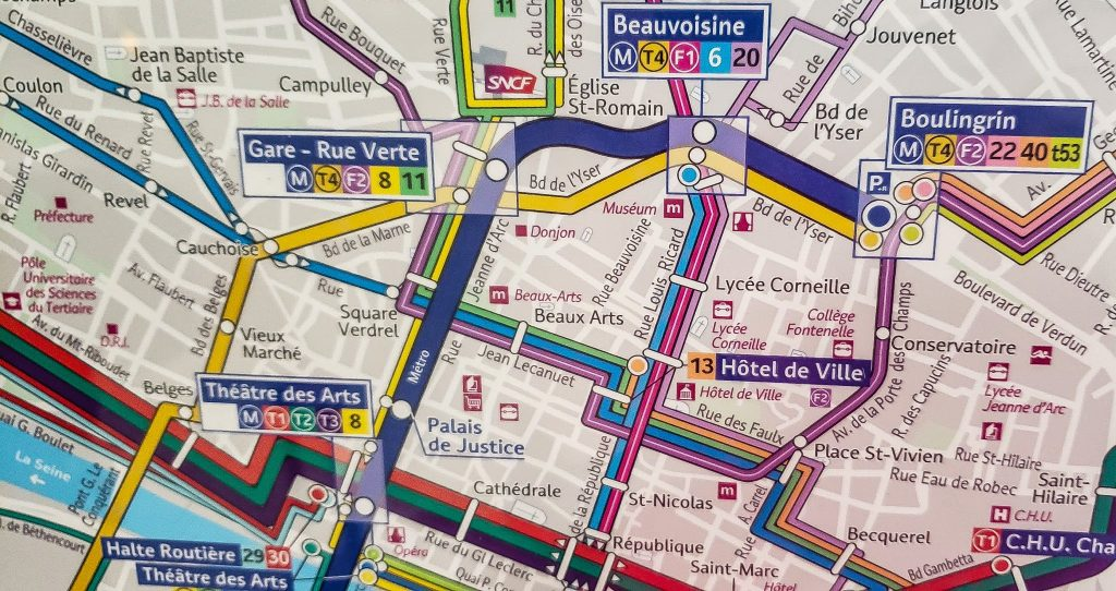 Map of section of the Rouen public transit system