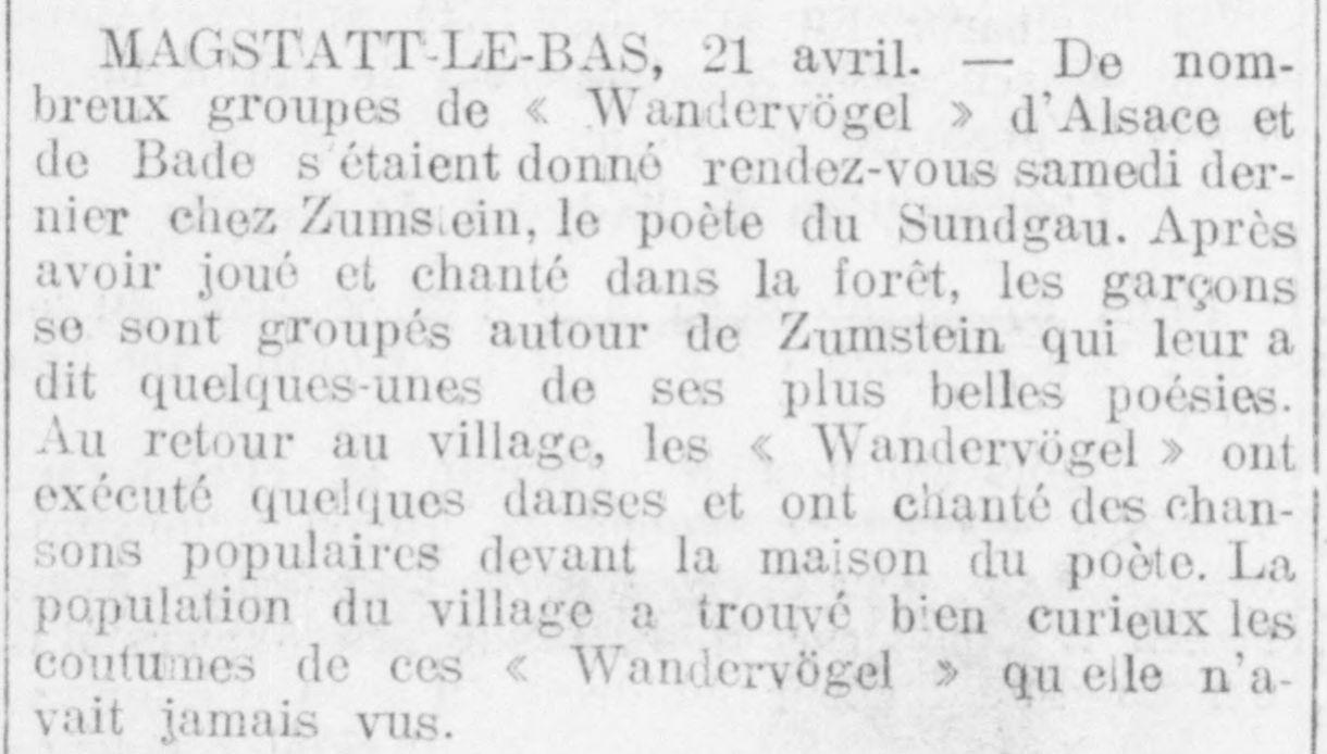 1914-04-23_Express_Mulhouse_Wandervögel chez le poète Zumstein