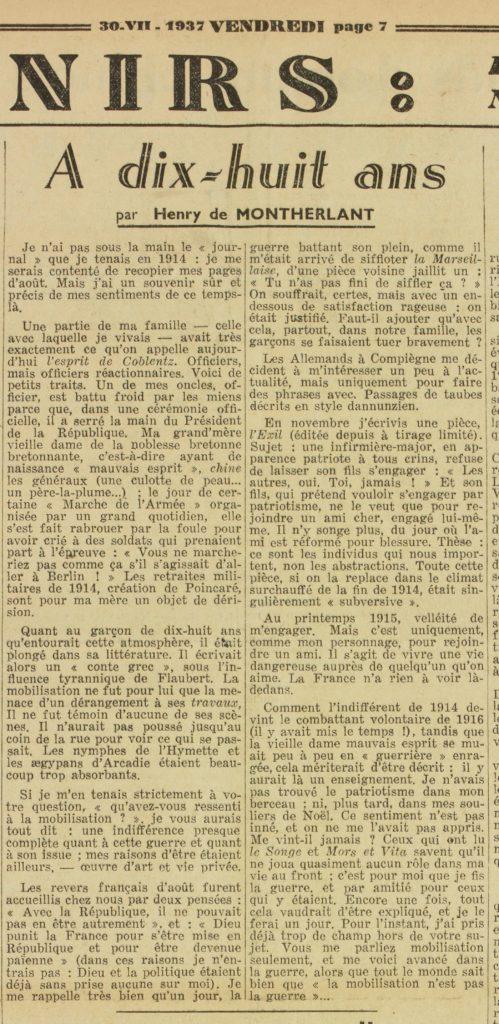 Henry de Montherlant - A dix-huit ans - Vendredi - 30.07.1937
