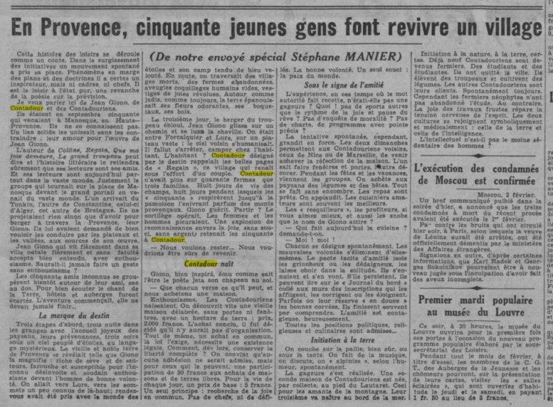 1937-02-03_Paris-Soir_En Provence, cinquante jeunes gens font revivre un village_Contadour