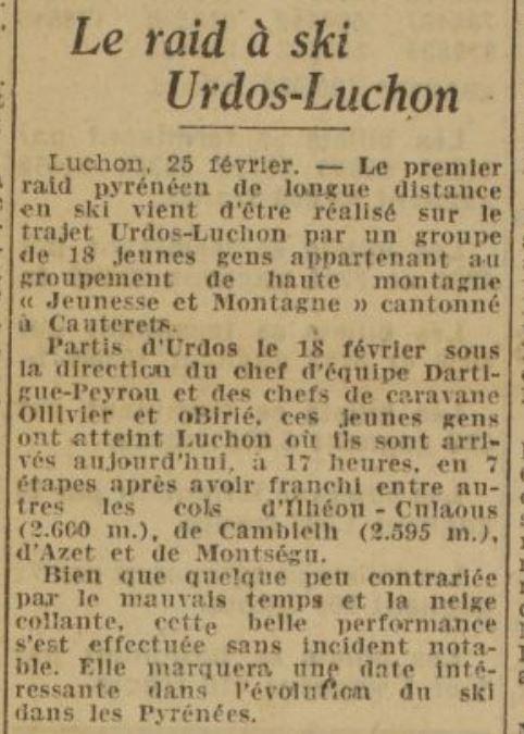 1942-02-26_La Dépêche_Le raid de ski Urdos-Luchon