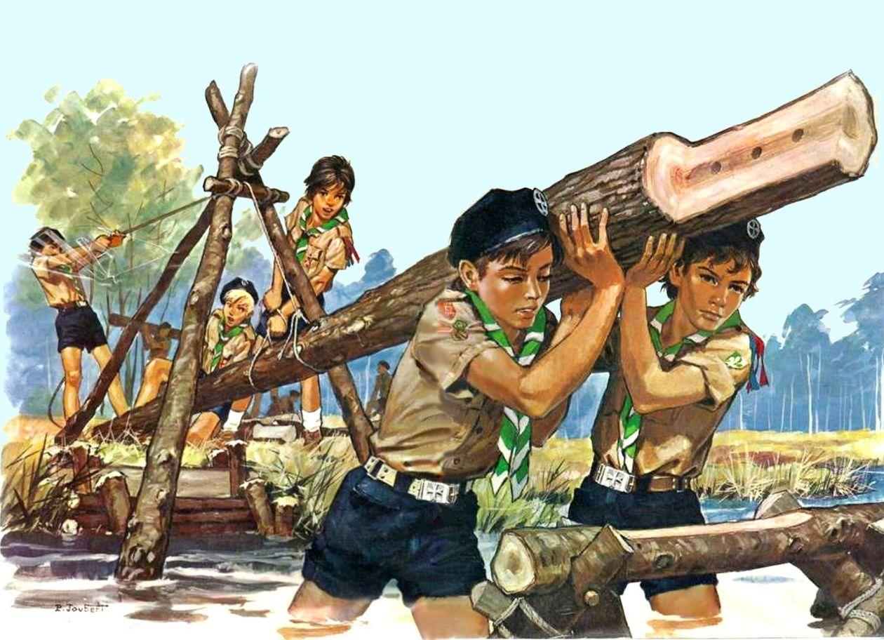 Pierre Joubert - Scouts construisent un pont