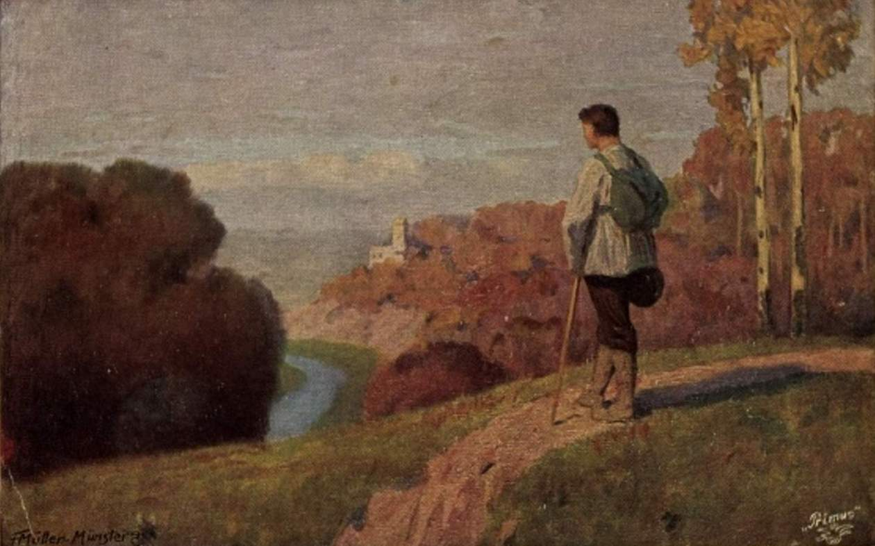Postkarte Müller Münster, F., Der Wanderer