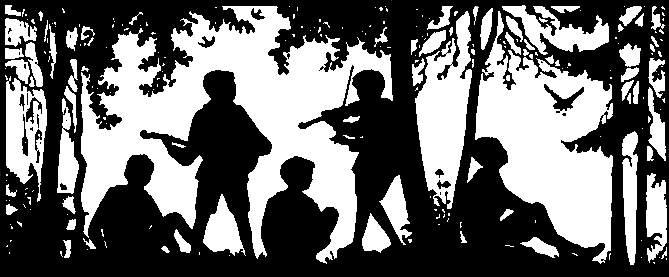 jeunes randonneurs avec guitare et violon