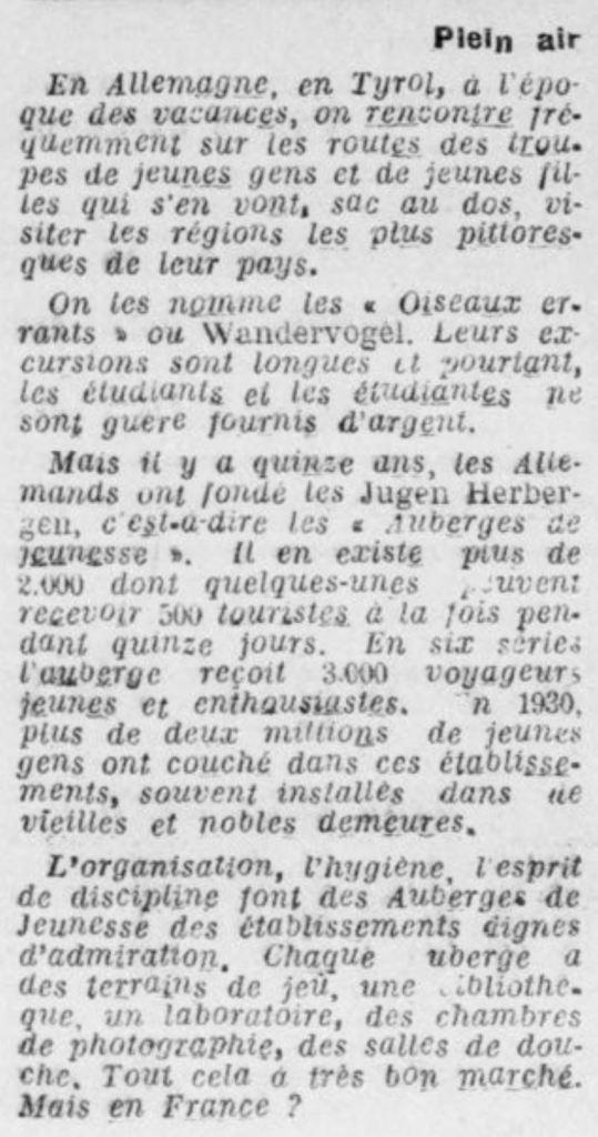 1931-06-01_Le radical du Vaucluse_Plein Wandervogel