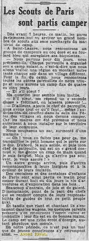1933-04-10_L'Intransigeant_Les Scouts de Paris sont partis camper