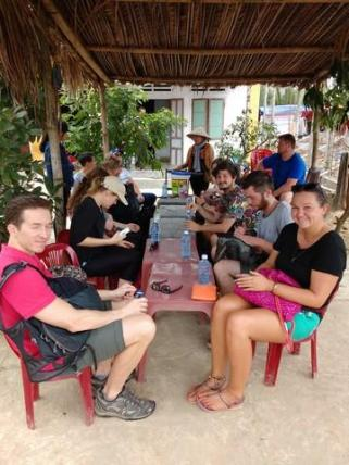 Chilling with fellow hostelers on the tour