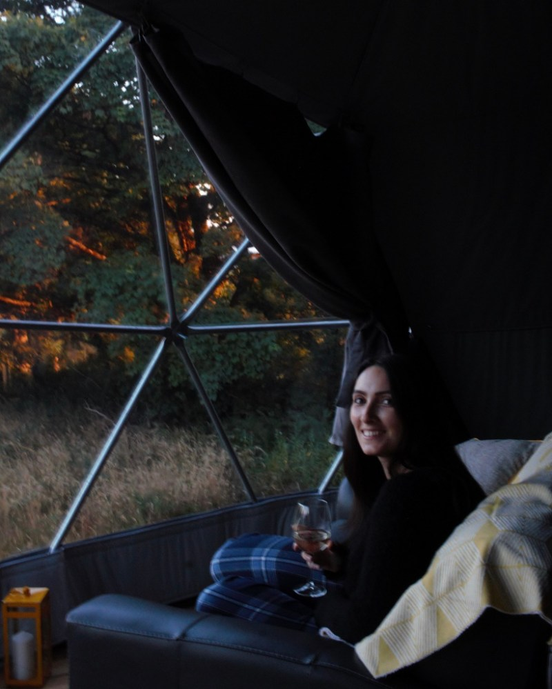 Laura inside glamping dome