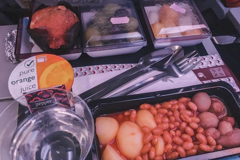 Qatar Airways vegetarian breakfast