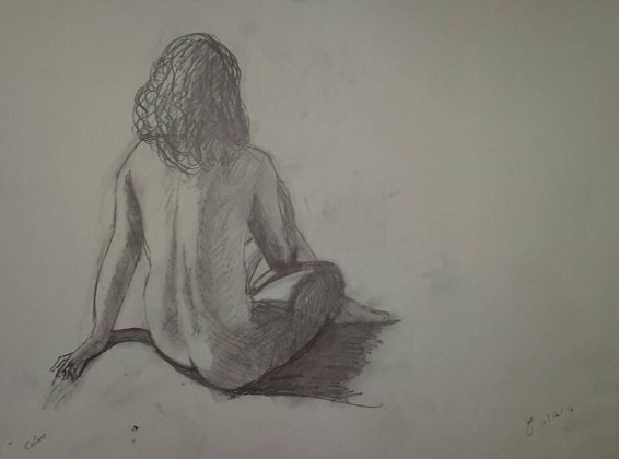 black and white drawing of naked woman, sitting up, back view