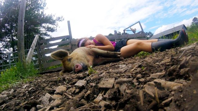 A woman and pig snuggling.