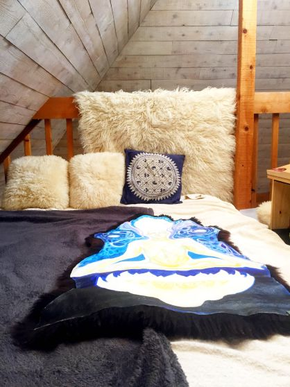 Peaceful decor in a tiny home.