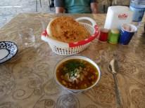 Rice soup with- yes meat.// Reissuppe mit was? Richtig, Fleisch.
