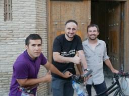 Elham, Komil, Daniel in front of enchnted Komil Boutiqie Bukhara.