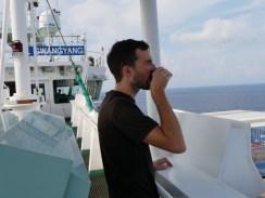 Morning coffee on deck.// Morgenkaffee auf dem Deck.